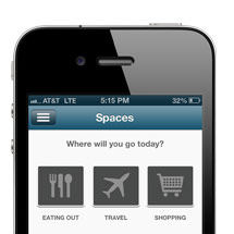 A mobile phone with the Spaces tool