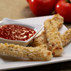Baked Mozzarella Sticks with Spicy Tomato Dipping Sauce