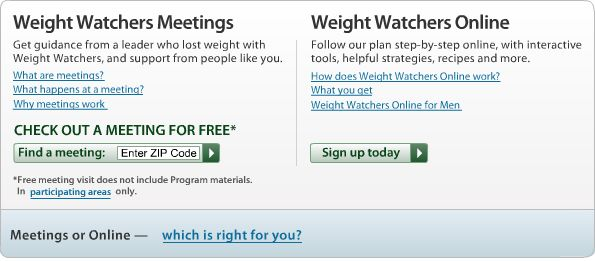 weight watchers meetings or online