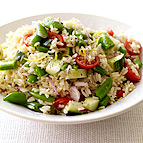 Brown Rice Salad with Tomatoes and Sugar Snap Peas