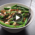 Green Beans with Frizzled Shallots and Toasted Almond Stir-Fry