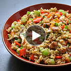 Rice Stuffing with Sausage and Shiitake Mushroom