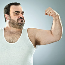 Hairy man flexing