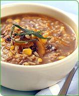 Wild Rice, Barley, Corn and Mushroom Soup