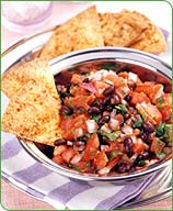 Black Bean Salsa with Chili-Baked Chips