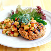 Salmon Burgers with Peach Salsa