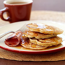 Multi-Grain Pancakes with Canadian Bacon and Maple Syrup