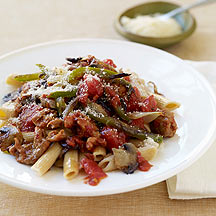 Image of pasta with sausage and peppers