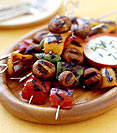 Pepper and Mushroom Kebabs with a Yogurt-Dill Dip