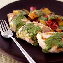 Grilled Chicken and Tri Color Peppers with Chimichurri Sauce