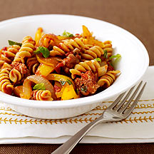 Image of fusilli with sausage and peppers