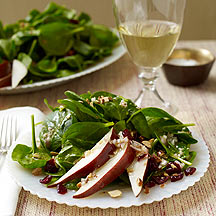 Spinach Salad with Pears Almonds and Cranberries