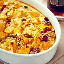 Breakfast Bread Pudding with Peaches