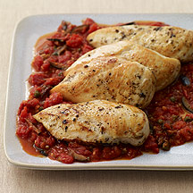 Chicken Breast Sauté Puttanesca Style