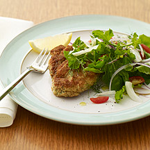 Image of chicken Milanese with arugula salad