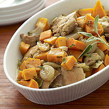 Cider Braised Chicken Thighs with Sweet Potatoes and Sage