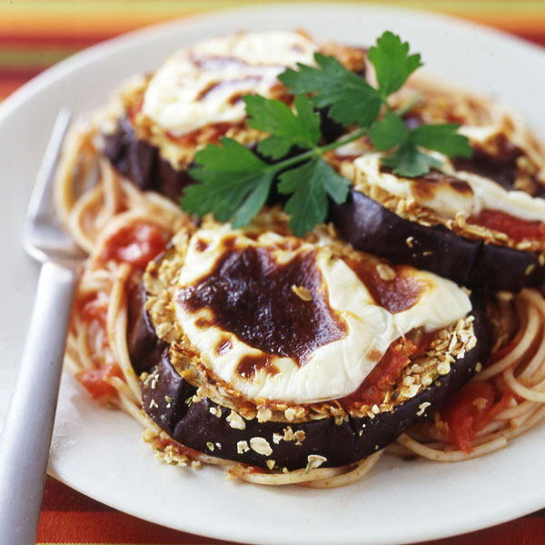 ... Watchers Recipe - Baked Eggplant Parmigiana over Whole Wheat Noodles