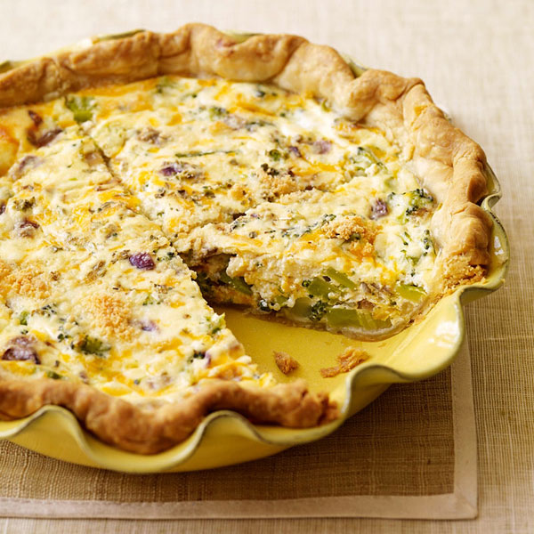 onion and aged white cheddar quiche canadian bacon green chile cheddar ...