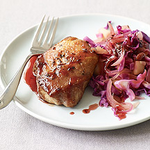 Image of  Cider-Glazed Pork Chops with Cabbage and Apples