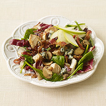 Image of   Warm Spinach Salad with Bacon, Chicken and Blue Cheese