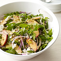 Image of Arugula Peach and Goat Cheese Salad